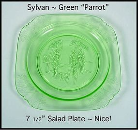 "Green Sylvan Parrot Depression Glass 7 1/2"" Salad Plate"