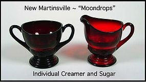 Moondrops Red ~ New Martinsville Individual Cream & Sug