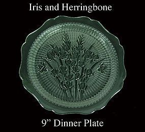 Jeannette ~ Iris and Herringbone 9 inch Dinner Plate
