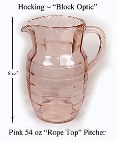 Hocking ~ Block Optic ~ Pink 54oz Rope Top Pitcher