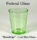 Federal Glass - 1930s Green Raindrops 1 oz Shot Glass