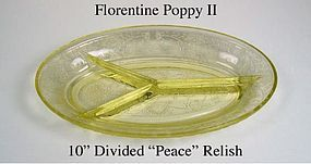 "HA Florentine Poppy II Yellow 10"" Relish Tray - Peace"