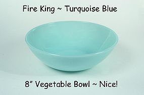 Fireking Turquoise Blue 4000 Line Large Berry Bowl