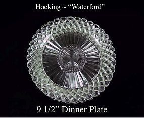 "Hocking Crystal Waterford ""Waffle"" Dinner Plate 1930's"
