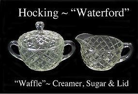 "Hocking Crystal Waterford ""Waffle"" Cream & Sugar & Lid"