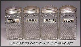 1940s Owen Illinois 4pc Range Set Org Foil Labels