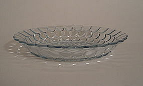 Fire King Blue Bubble Large Flat Soup Plate Bowl