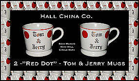 Hall China Red Dot 2 Tom & Jerry Mugs