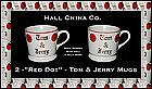 Hall China Red Dot 2 Tom & Jerry Mugs