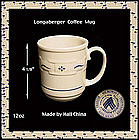 Longaberger Hall China Blue 12oz Coffee Mug