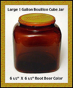 Unusual Dark Amber 1 Gallon Bouillon Advertising Jar