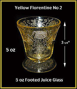 Yellow Florentine II - 5 oz Footed Juice Glass