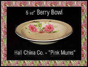 Hall China Pink Mums Small Berry Bowl 1950's