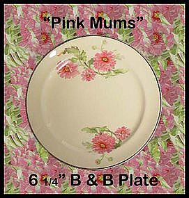 Hall China Pink Mums 6 inch Bread & Butter Plate