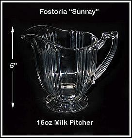 Fostoria Sunray HTF 16 Ounce Milk Pitcher