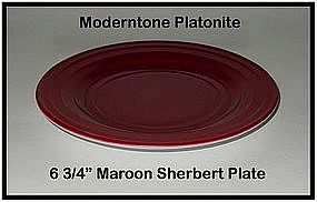 "Moderntone Platonite Maroon 6 3/4"" Sherbert Plate"