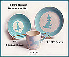 1940's Childs Matching 3 pc Animal Bowl, Mug, & Plate