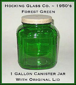 Hocking Glass Forest Green 1 Gallon Canister Jar N Lid