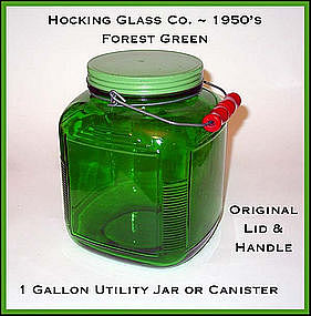 Hocking Forest Green 1 Gal Handled/Canister Jar N Lid