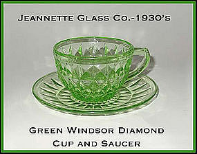 Jeannette Glass Green Windsor Cup and Saucer