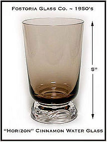 Fostoria Cinnamon Horizon Footed Water Glass 1950's