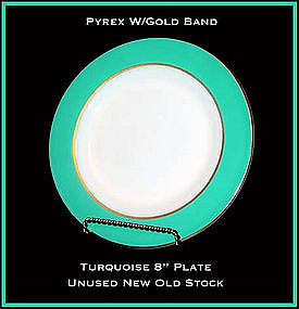 Pyrex Gold Trim W/Turq Color Band 8 inch Plate Unused