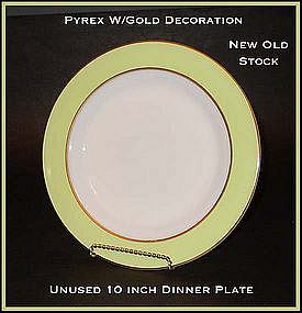 "Pyrex Corning Gold Dec Chartreuse Band 10"" Dinner Plate"