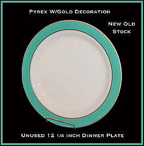 "Pyrex Corning Gold Dec Turquoise Band 12"" Serving Plate"