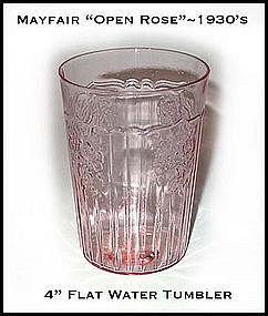 Hocking Glass Mayfair Open Rose 9 oz Flat Water Glass