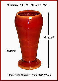 Tiffin U.S. Glass 1920s Tomato Slag Dahlia Cupped Vase