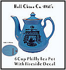Hall China 6 Cup Philly Teapot Gold Dec Fireside Scene