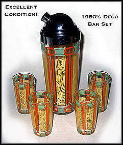 1950's Deco Bar Set With Cocktail Shaker & 4 Glasses