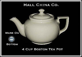 Hall China 4 Cup Boston Bakery White Tea Pot~Signed