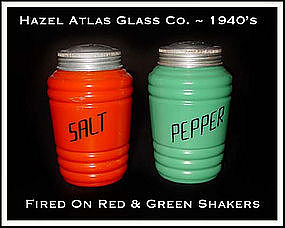 Hazel Atlas Fired On Orange~Green SALT n PEPPER Shakers