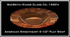 MacBeth Evans American Sweetheart Pink Flat Soup Bowl