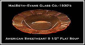 MacBeth Evans American Sweetheart Pink Flat Soup Bowl