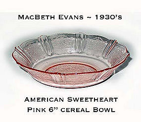 MacBeth Evans American Sweetheart Pink Cereal Bowl