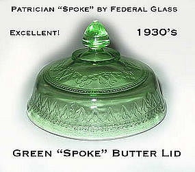 Federal Glass Green Patrician Spoke Butter Lid