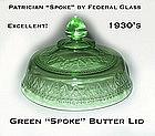 Federal Glass Green Patrician Spoke Butter Lid