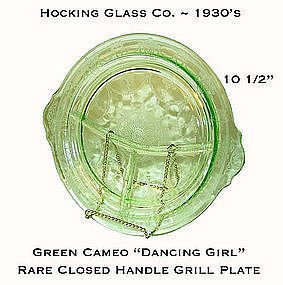 Hocking Glass Green Cameo Closed Handle Grill Plate