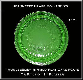 "Jeannette Hex Optic ""Honeycomb"" Rimmed Flat Cake Plate"