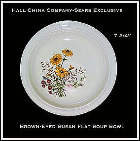 Hall China Sears Brown~Eyed Susan Flat Soup Bowl