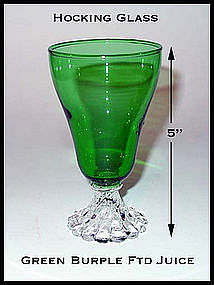 Hocking Glass Forest Green Burple Footed Juice Glass