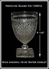 Hocking Crystal Miss America 10 oz Water Goblet
