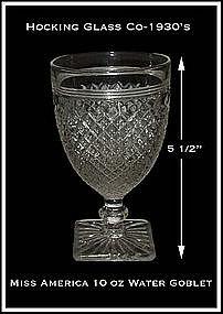 Hocking Crystal Miss America 10 oz Water Goblet