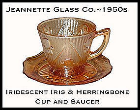 Iris and Herringbone Iridescent Cup and Saucer