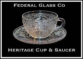 Federal Glass Co. ~ Heritage Cup and Saucer
