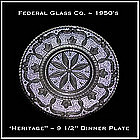 Federal Glass Co. ~ Heritage Large Dinner Plate
