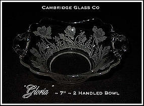 Cambridge Glass Co ~ Gloria Square 2 Handled Bowl