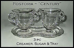 Fostoria Century~Creamer~Sugar & Tray~3pc Set